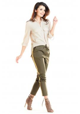 Módne dámske nohavice kaki farby s kontrastným pásom