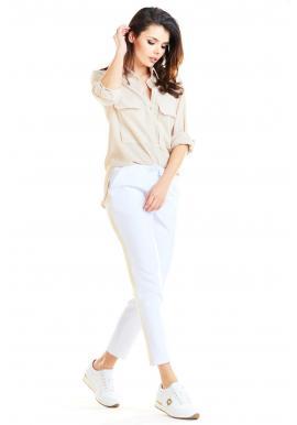 Dámske módne nohavice s kontrastným pásom v bielej farbe