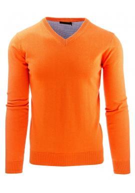 Sveter pre pánov v oranžovej farbe s výstrihom V