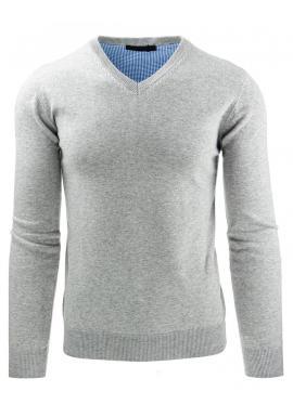 Pánsky tmavosivý sveter s výstrihom V