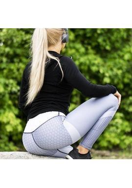 Sivo-biele športové legíny so vzorom pre dámy