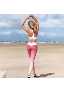 Športové dámske legíny ružovej farby s kontrastnými prvkami