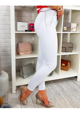 Biele úzke nohavice s vysokým pásom pre dámy