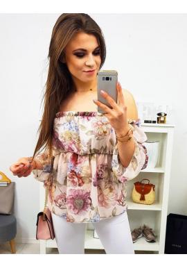 Kvetovaná dámska blúzka ružovej farby s odhalenými ramenami
