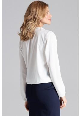 Biele elegantné blúzky s obálkovým výstrihom pre dámy