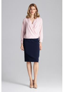 Ružová elegantná blúzka s obálkovým výstrihom pre dámy