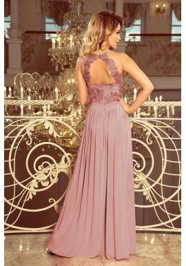 Dlhé dámske šaty staroružovej farby s vyšívaným výstrihom