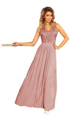 990491723 Dlhé dámske šaty staroružovej farby s vyšívaným výstrihom ...