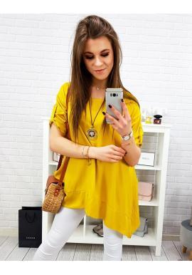 Voľná dámska blúzka žltej farby s asymetrickým strihom
