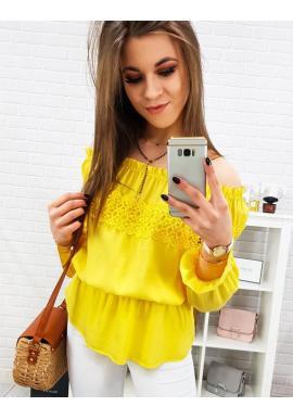 Dámska romantická blúzka s odhalenými ramenami v žltej farbe