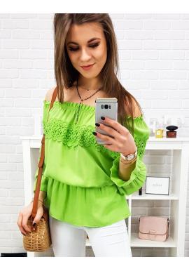 Zelená romantická blúzka s odhalenými ramenami pre dámy