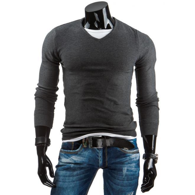 faef9d80bdb6 Sivý pánsky sveter so záplatami na lakťoch a výstrihom V - skvelamoda.sk
