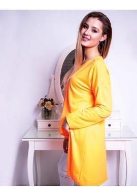 Predĺžená dámska blúzka neónovo oranžovej farby s dlhým rukávom