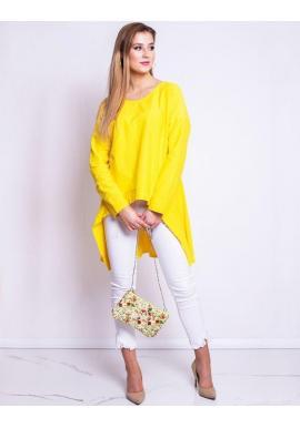Predĺžená dámska blúzka žltej farby s dlhým rukávom