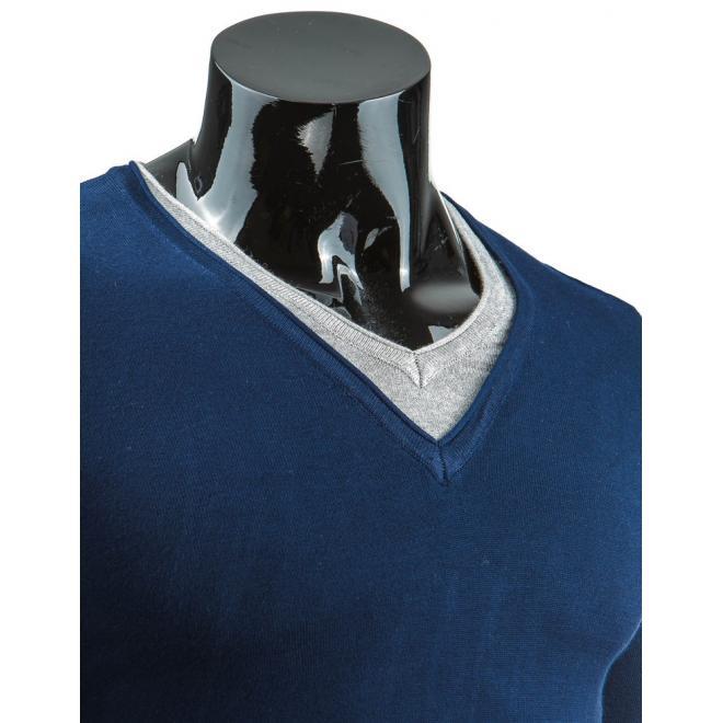 Pánsky tmavomodrý sveter so záplatami na lakťoch a výstrihom V