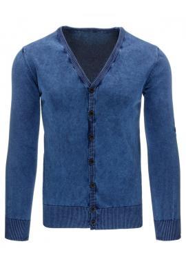 Modrý pánsky sveter na zapínanie s výstrihom V