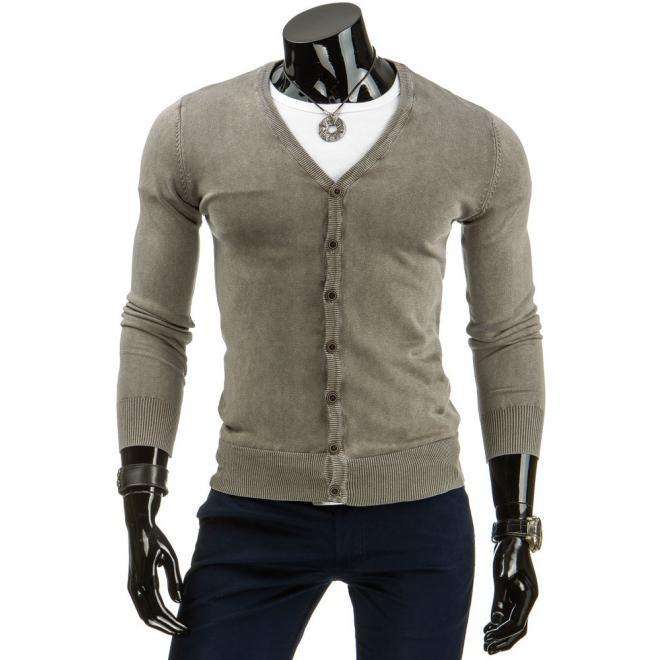 Pánsky tmavomodrý sveter so zapínaním na gombíky