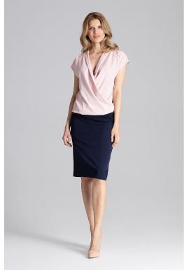Dámska elegantná blúzka s obálkovým výstrihom v ružovej farbe