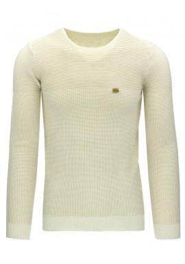 Biely sveter s okrúhlym výstrihom pre pánov