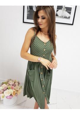 Pásikavé dámske šaty zelenej farby na ramienka