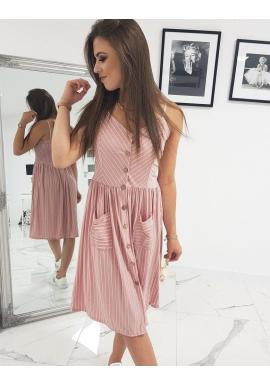 Dámske pásikavé šaty na ramienka v ružovej farbe