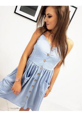 Módne dámske šaty modrej farby na ramienka