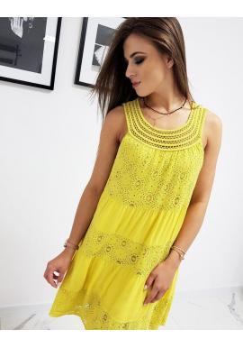 Dámske štýlové šaty na ramienka v žltej farbe