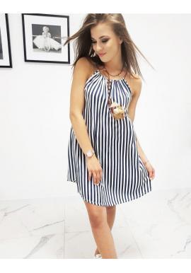 Pásikavé dámske šaty modro-bielej farby na ramienka