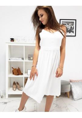 Dámske letné šaty na ramienka v bielej farbe