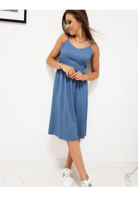 Modré letné šaty na ramienka pre dámy