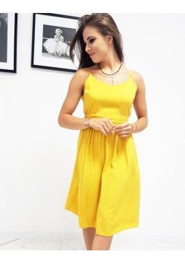 Letné dámske šaty žltej farby na ramienka