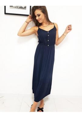 Tmavomodré módne šaty na ramienka pre dámy