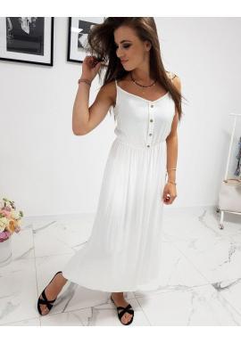 Dlhé dámske šaty bielej farby na ramienka