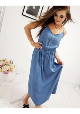 Dámske dlhé šaty na ramienka v modrej farbe