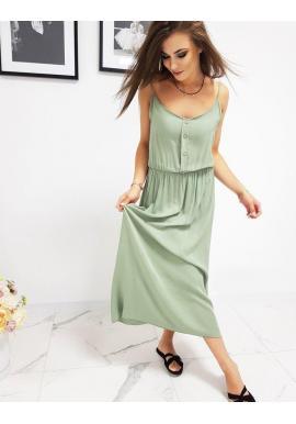Olivové dlhé šaty na ramienka pre dámy