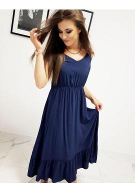 Dlhé dámske šaty tmavomodrej farby s volánom