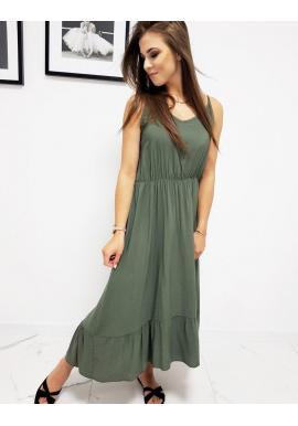 Dámske dlhé šaty s volánom v olivovej farbe
