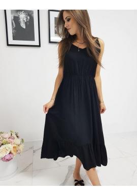 Čierne dlhé šaty s volánom pre dámy