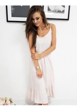 Dlhé dámske šaty ružovej farby s volánom