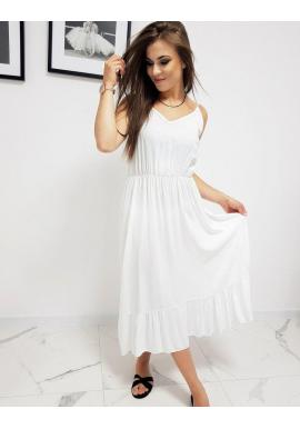 Dámske dlhé šaty s volánom v bielej farbe