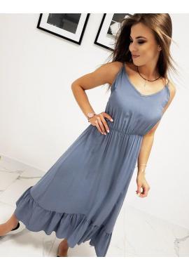 Modré dlhé šaty s volánom pre dámy