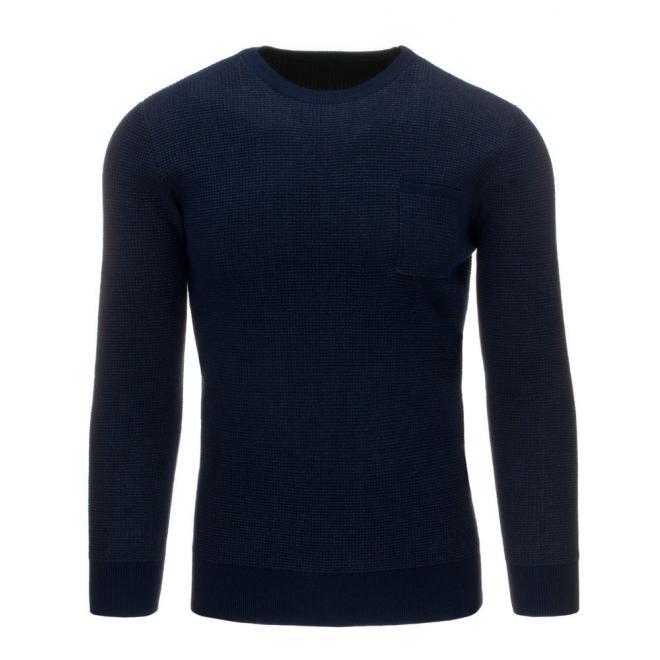 Pánsky sivý sveter s vreckom na hrudi