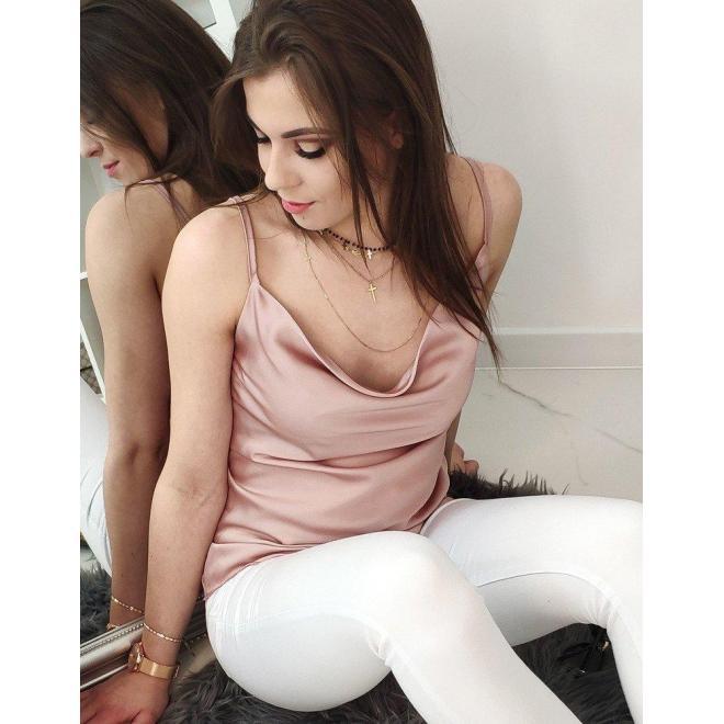 Dámska hladká blúzka na ramienka v ružovej farbe