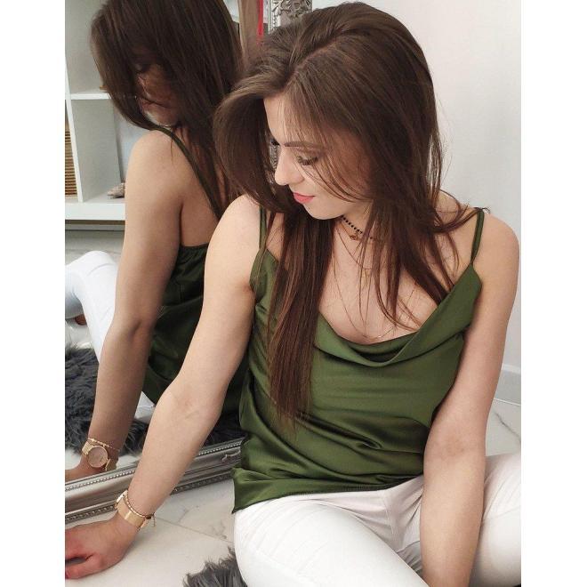Zelená hladká blúzka na ramienka pre dámy