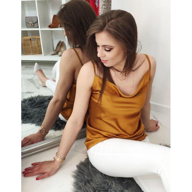 Hladká dámska blúzka horčicovej farby na ramienka