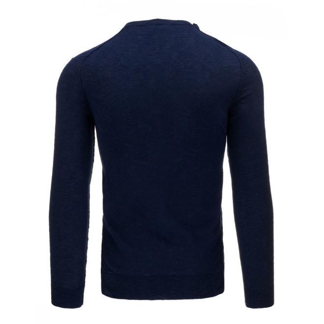Pánsky tmavosivý sveter s gombíkmi na ramene