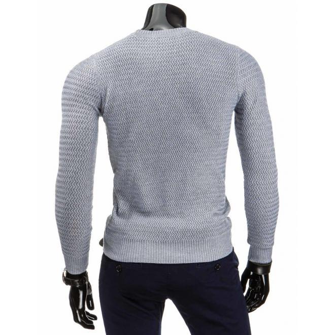 Tmavosivý klasický sveter pre pánov s okrúhlym výstrihom
