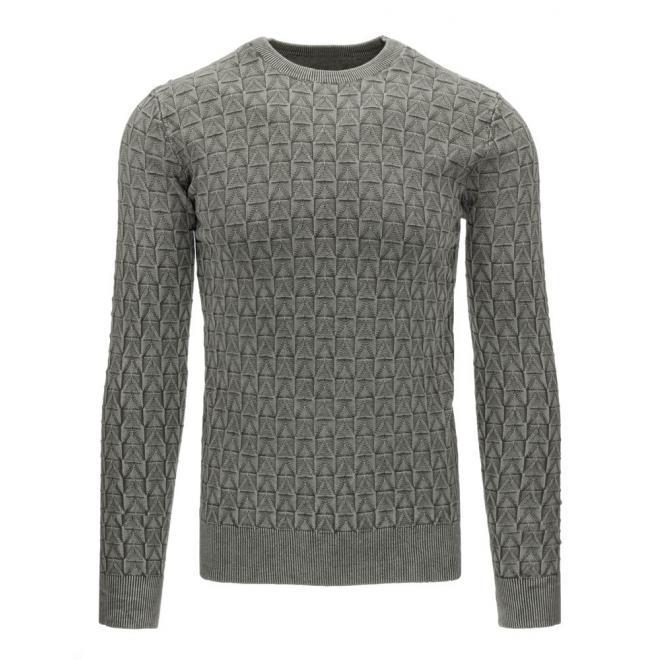 Tmavomodrý sveter pre pánov so vzorom