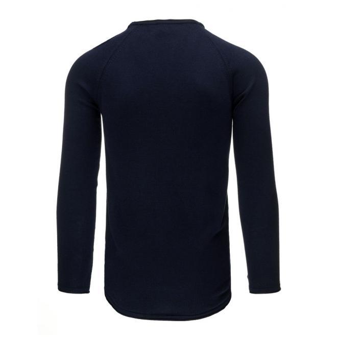 Pánsky vrúbkovaný sveter v tmavomodrej farbe