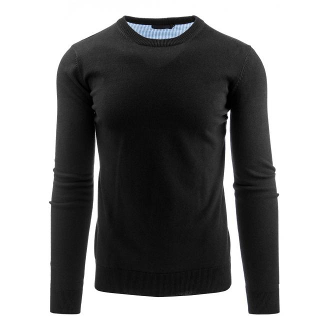 Čierny klasický sveter pre pánov s okrúhlym výstrihom